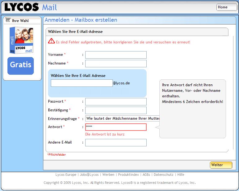 Anmeldebildschirm Lycos-Freemail